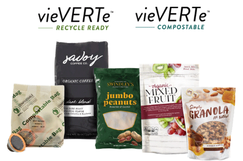VieVERTe Recyclable and VieVERTe compostable - TC Transcontinental Packaging's sustainable and ecofriendly flexible packaging product protfolio